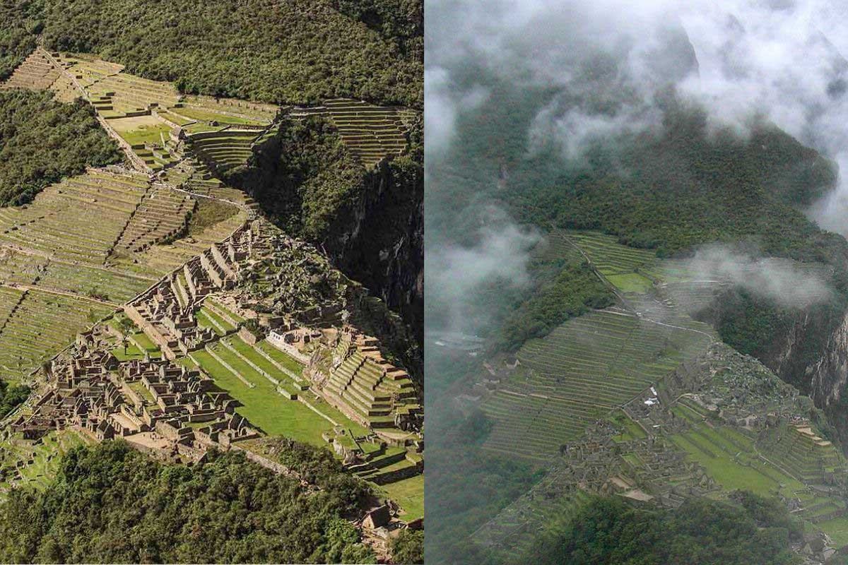 Two photos side-by-side showing the rainy and sunny views of Machu Picchu.