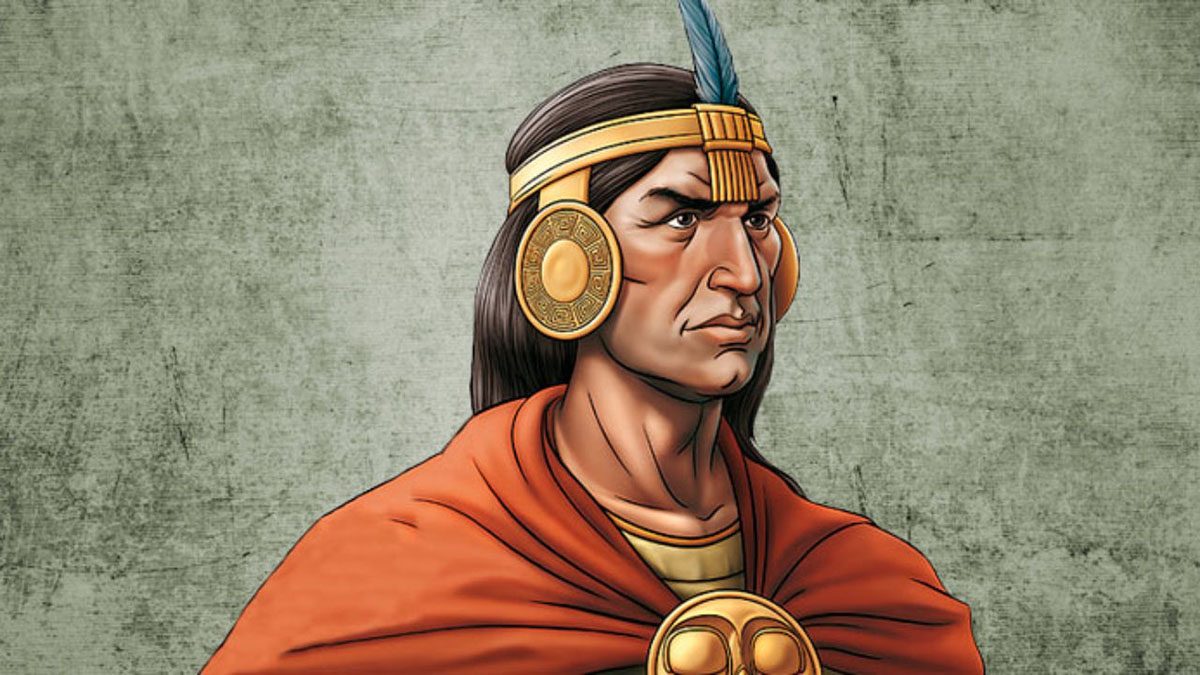 An artistic depiction of Inca emperor Pachacuti wearing traditional orange clothing adorned with gold.