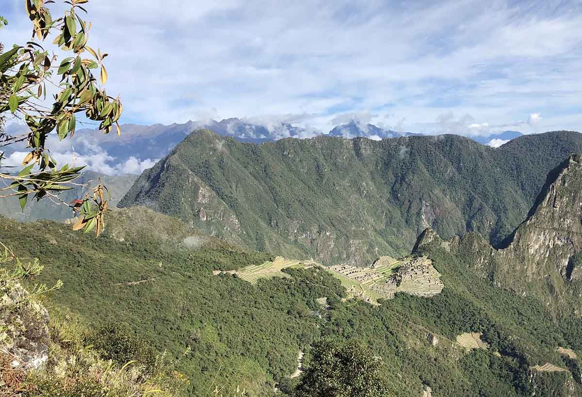 A view of the Inca Trail as it meets up with Machu Picchu.