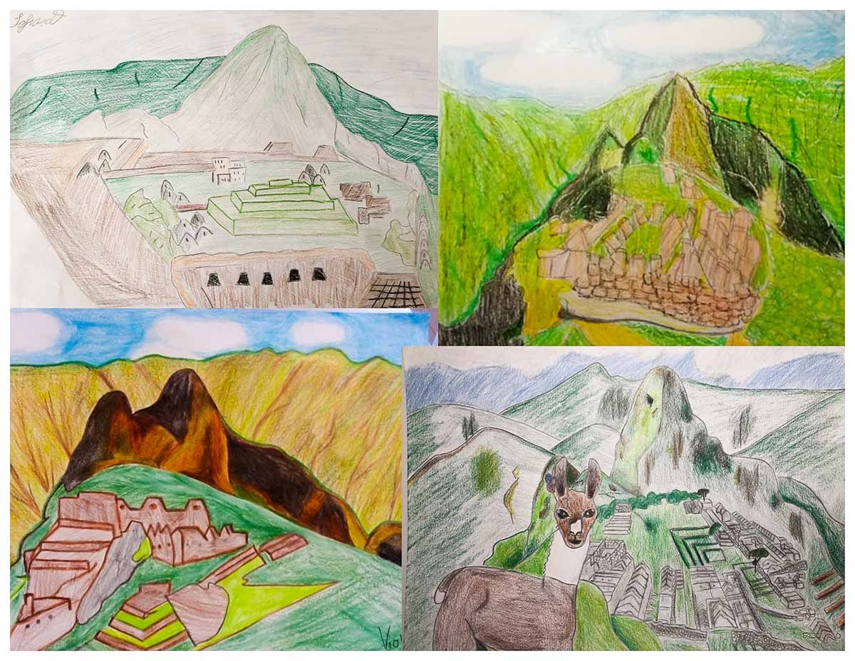 A collage of drawings made by students of Machu Picchu.