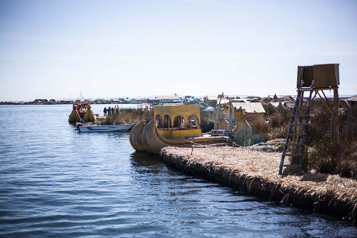 The floating Uros Islands of Lake Titicaca also have boats made of the reed.