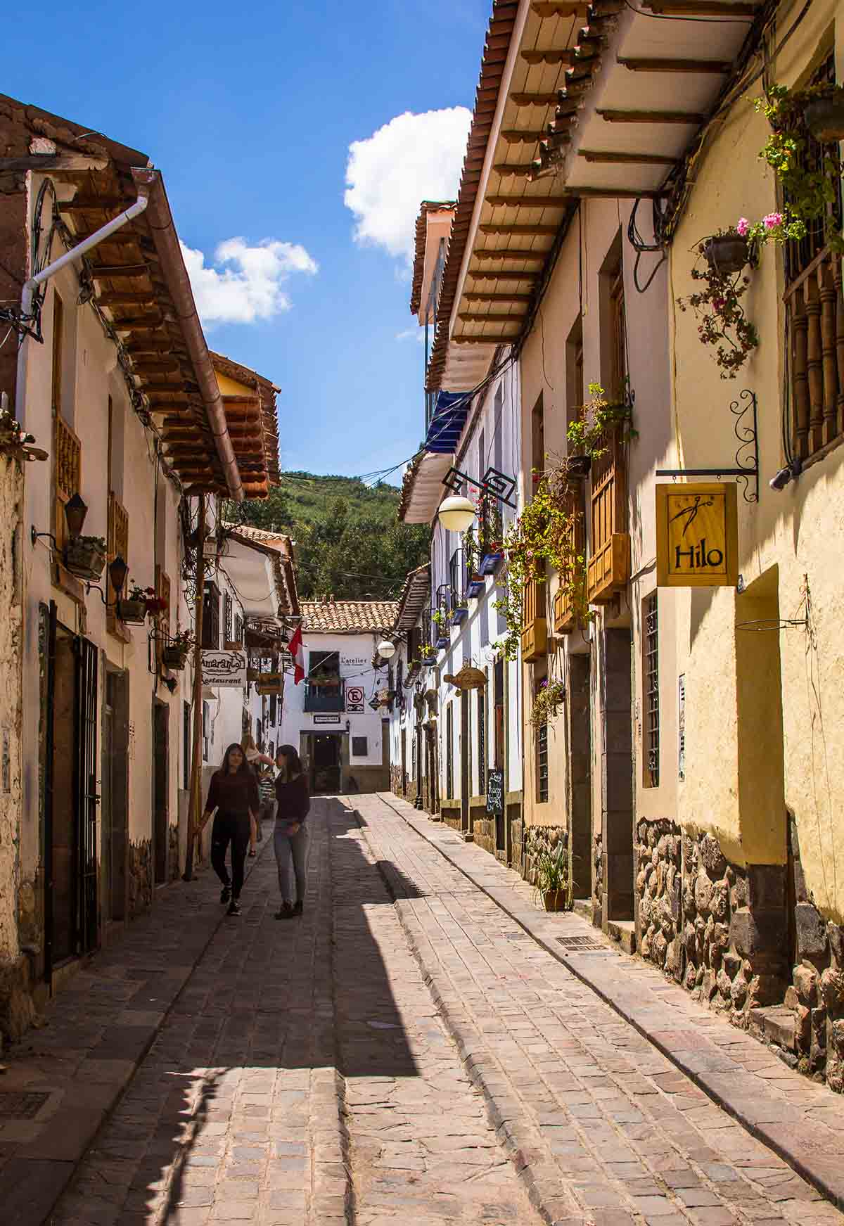 A brightly decorated street in the oldest neighborhood in Cusco, San Blas.