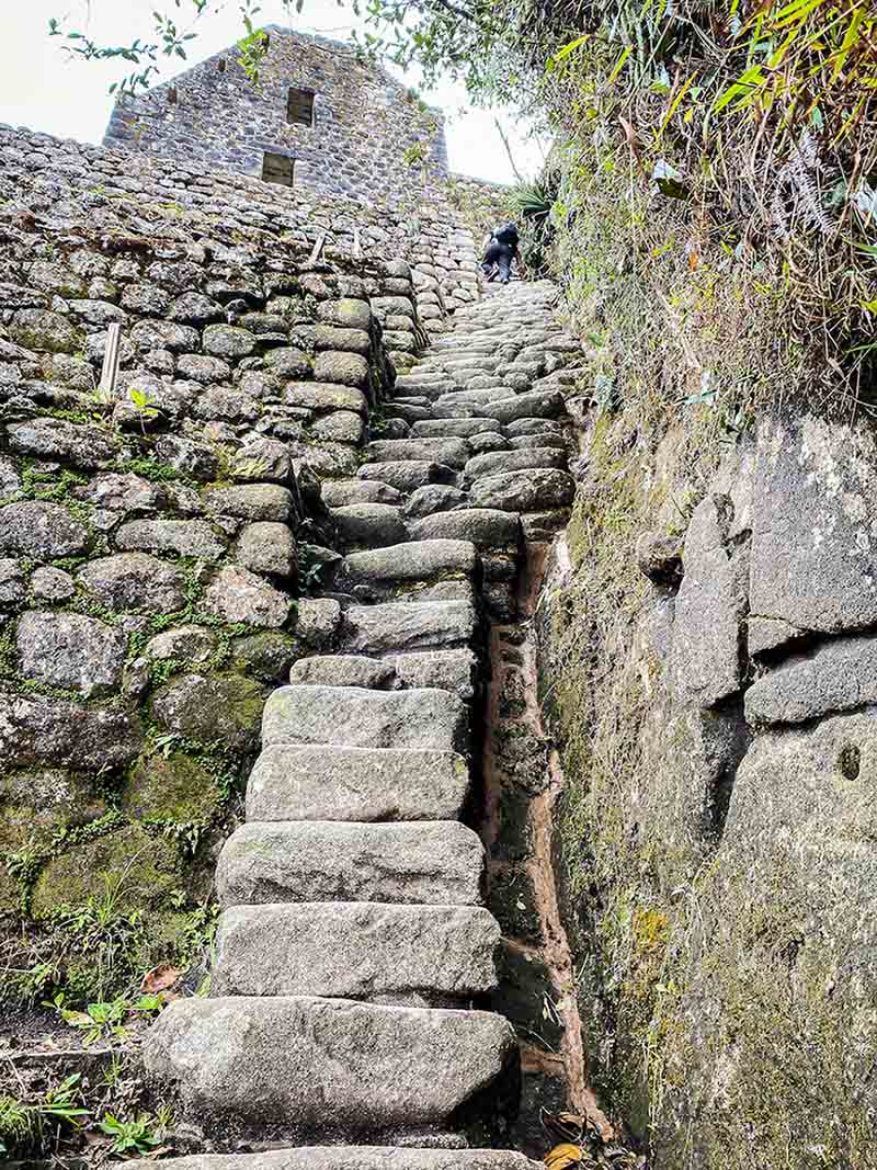 A view looking up at the steep and narrow Stairs of Death.