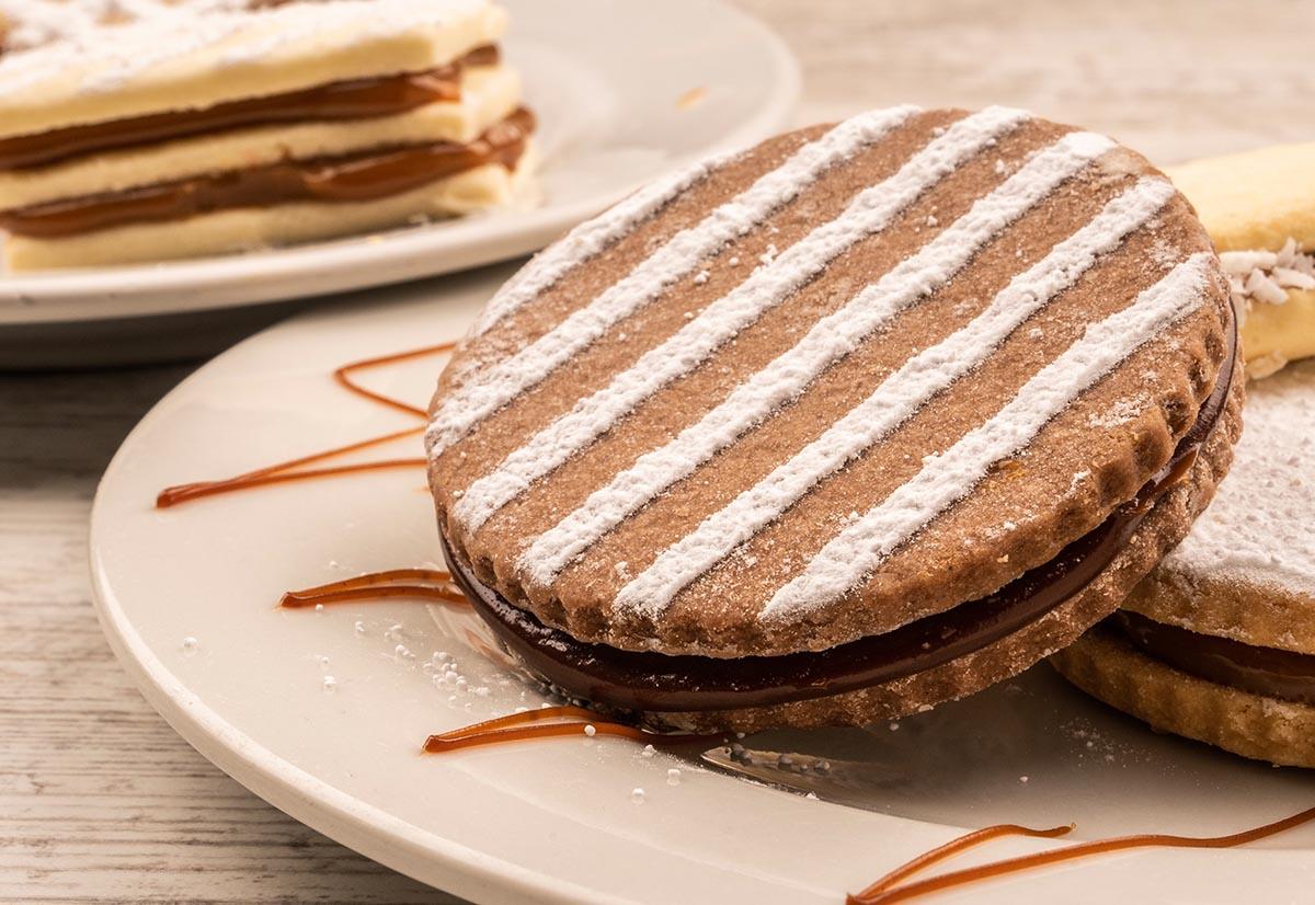 A popular Peruvian dessert, the alfajor, is a decorated cookie sandwich.