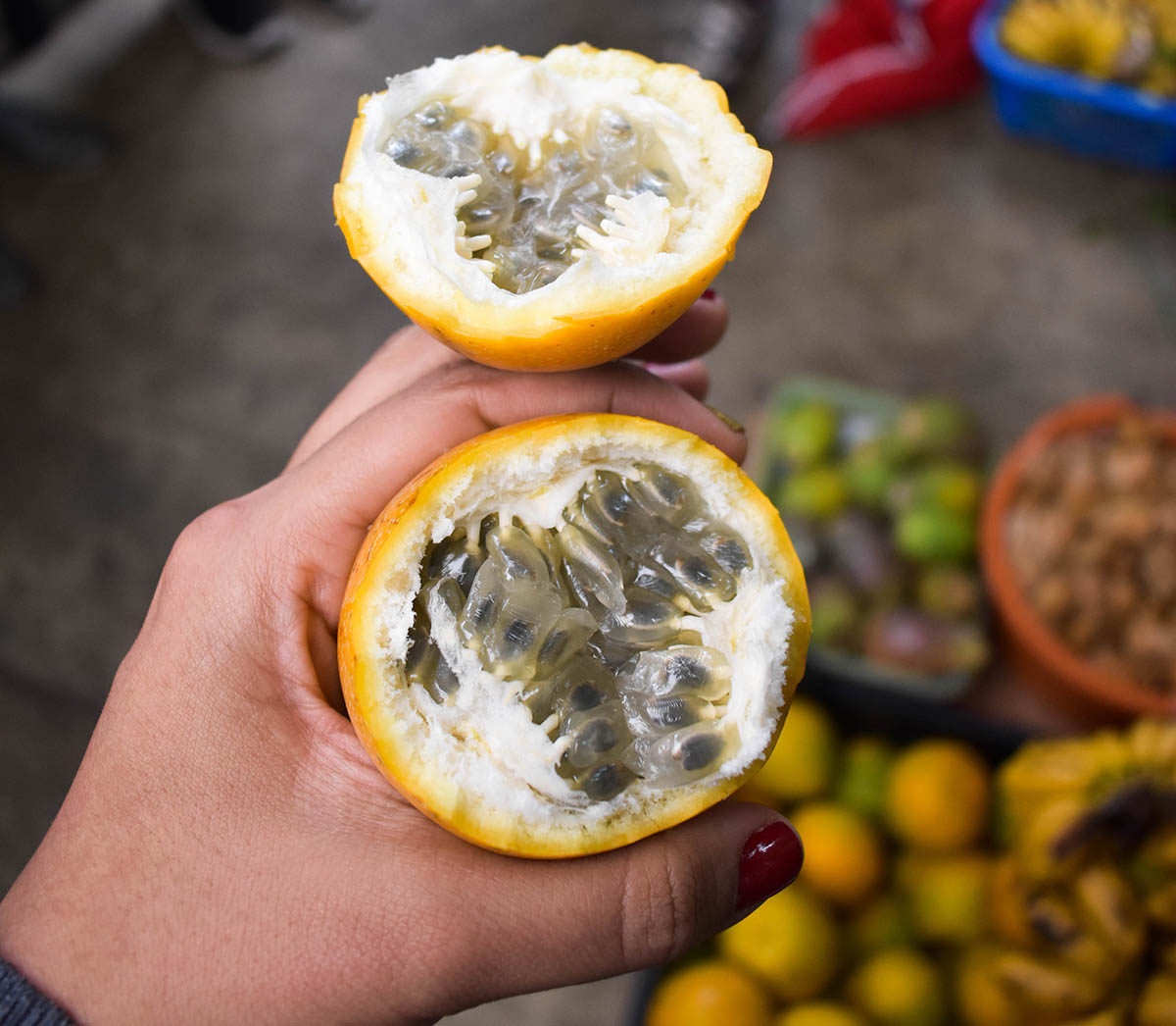 The inside of granadilla, a fruit similar to passionfruit found in Peru.
