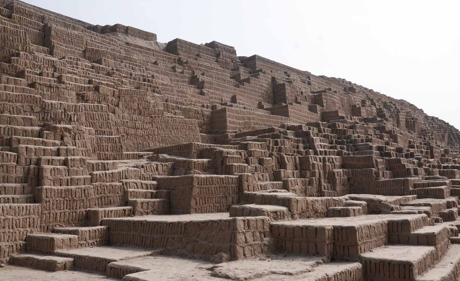 The clay adobe pyramids of Huaca Pucllana, an archaeological complex of the ancient Lima Culture.