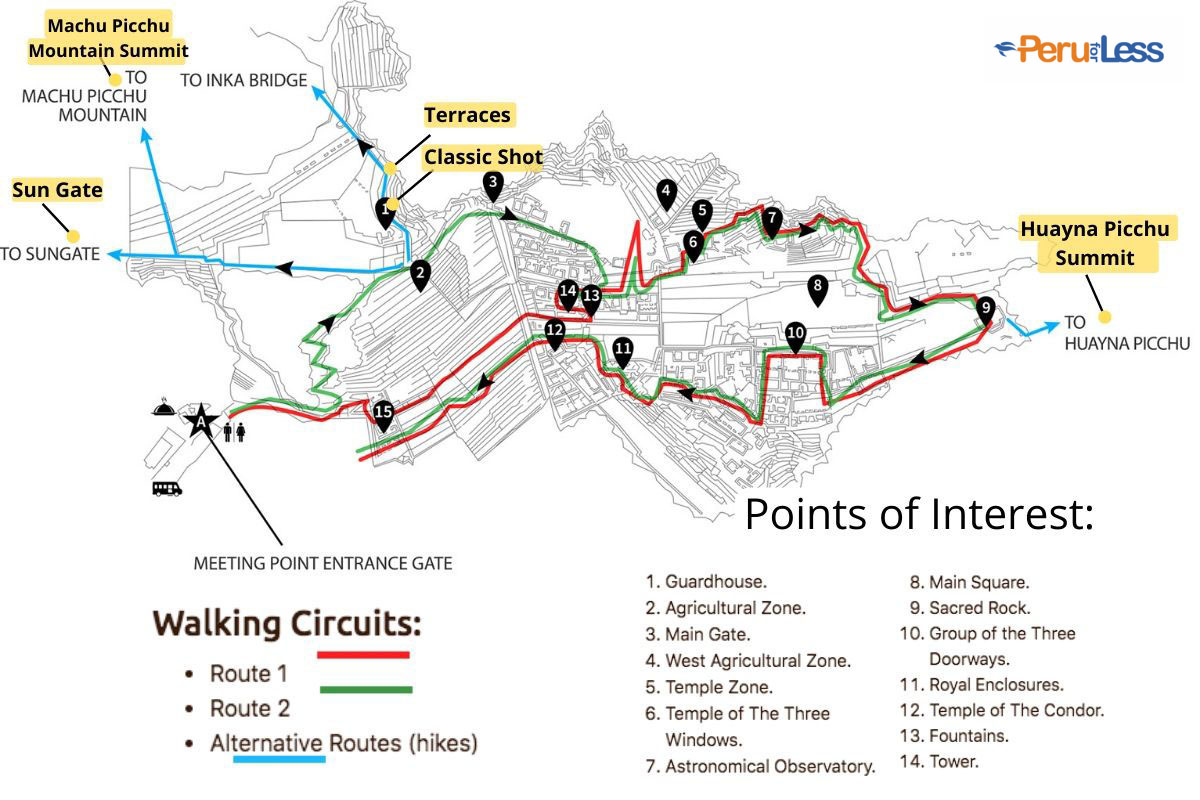 A detailed map of the routes you can take within the ruins of Machu Picchu. The map includes a list of points of interest and highlights the best viewpoints for taking photos.
