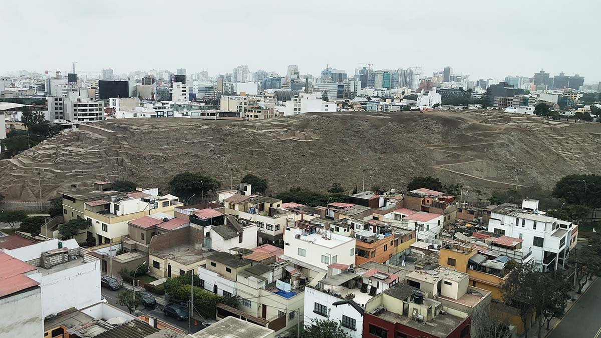 Views from the top of Huaca Pucllana of Miraflores, covered in clouds on an overcast day.