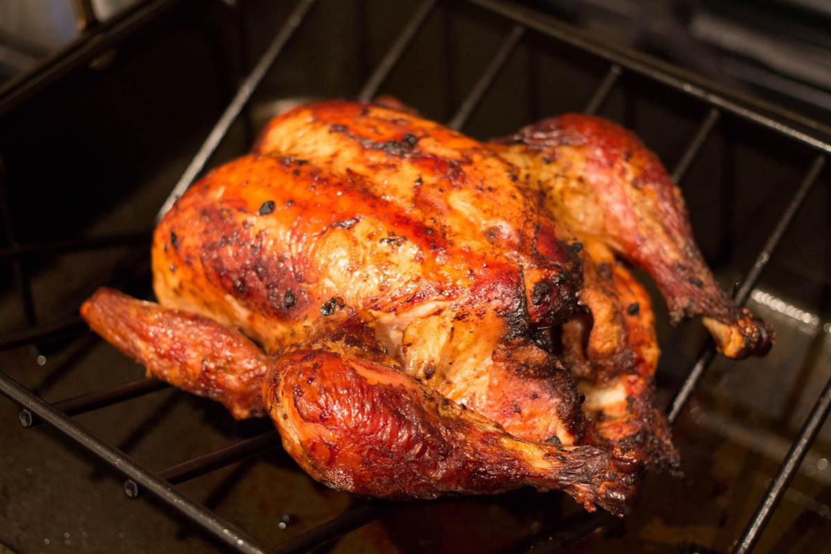 Popular Peruvian food, pollo a la brasa, a roasted chicken dish.