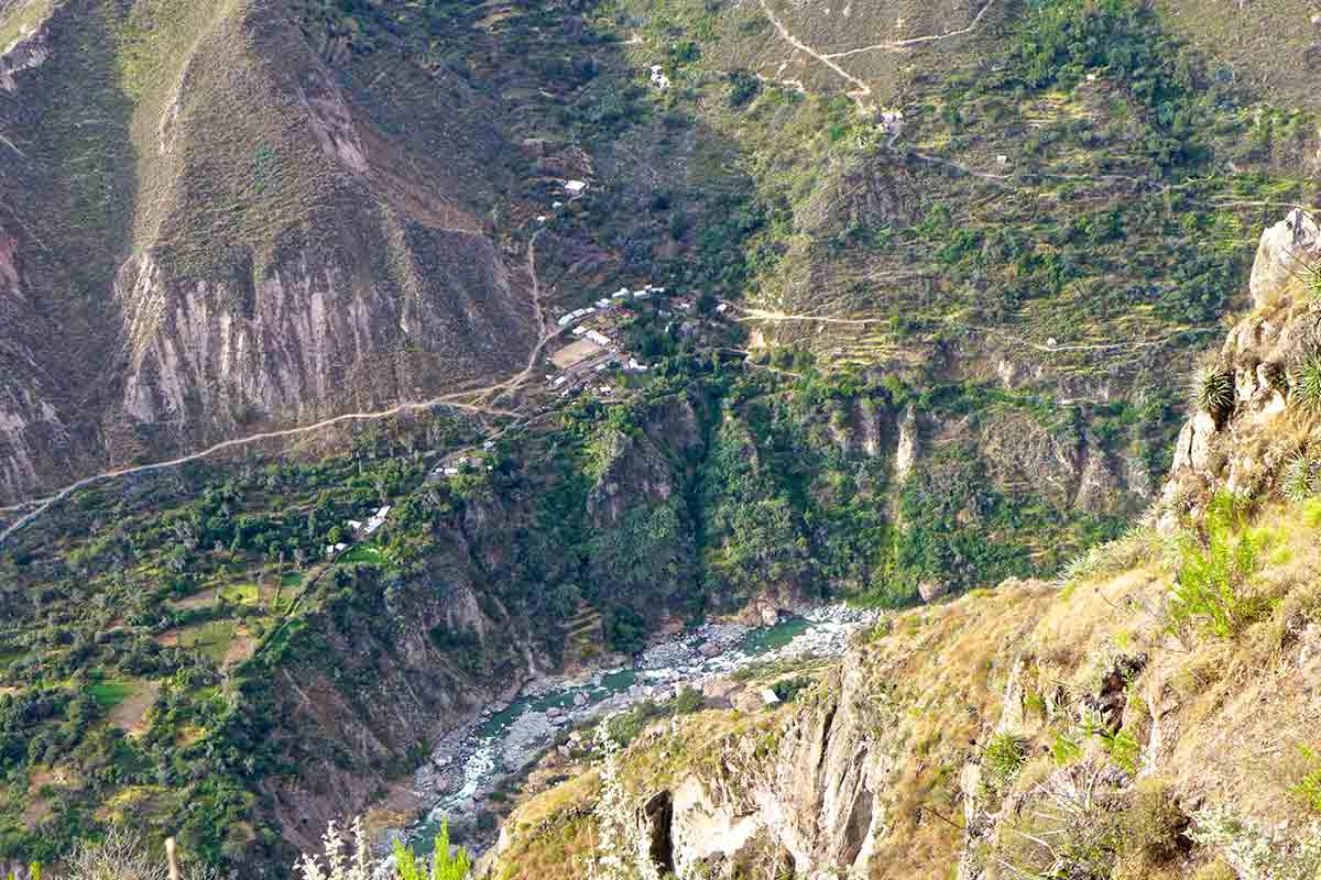 Walking trails to the tiny village of San Juan de Chuccho at the base of Colca Canyon with the river just below.