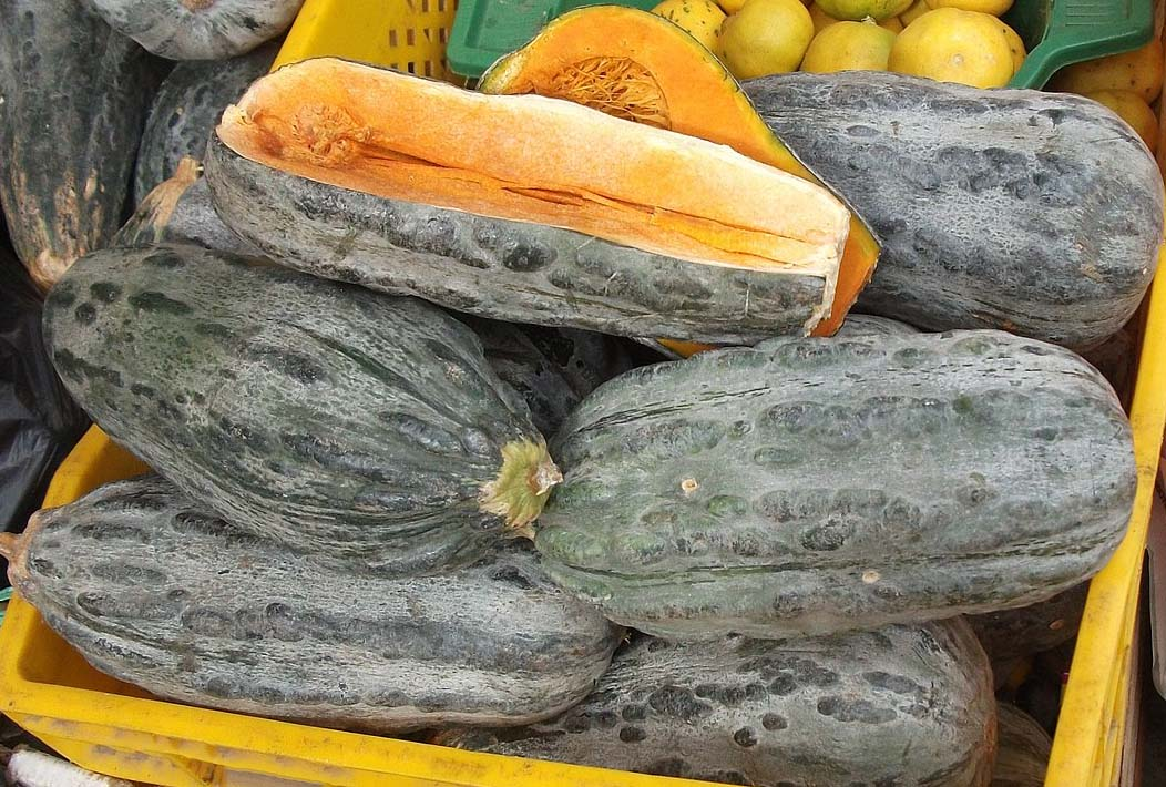 A stack of zapallo loche, a pumpkin commonly used in Peruvian foods.