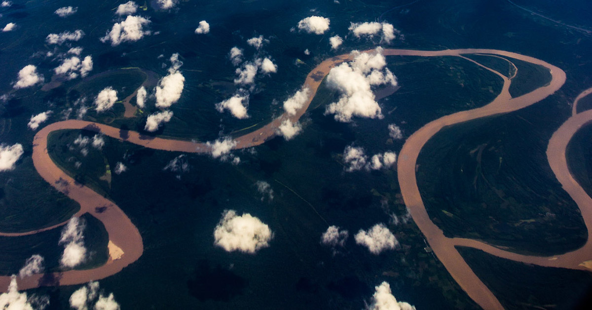 The winding Amazon River as seen from above Iquitos, Peru