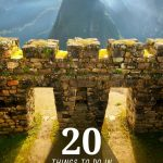 archeological site with stone windows and green mountains behind them and the words 20 best things to do in Peru written in the center bottom in bold white
