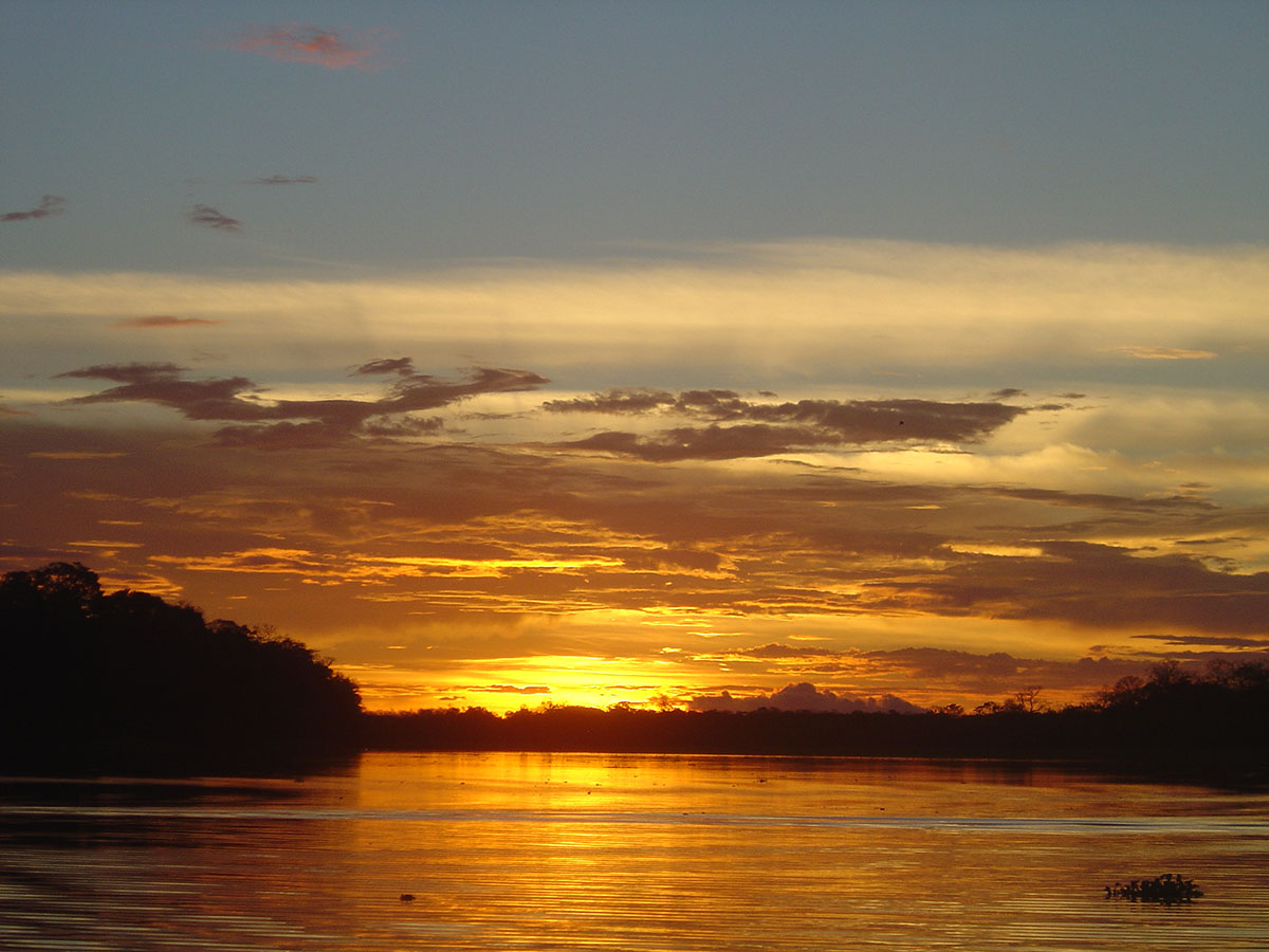 A sunset over the Amazon River in Iquitos, Peru