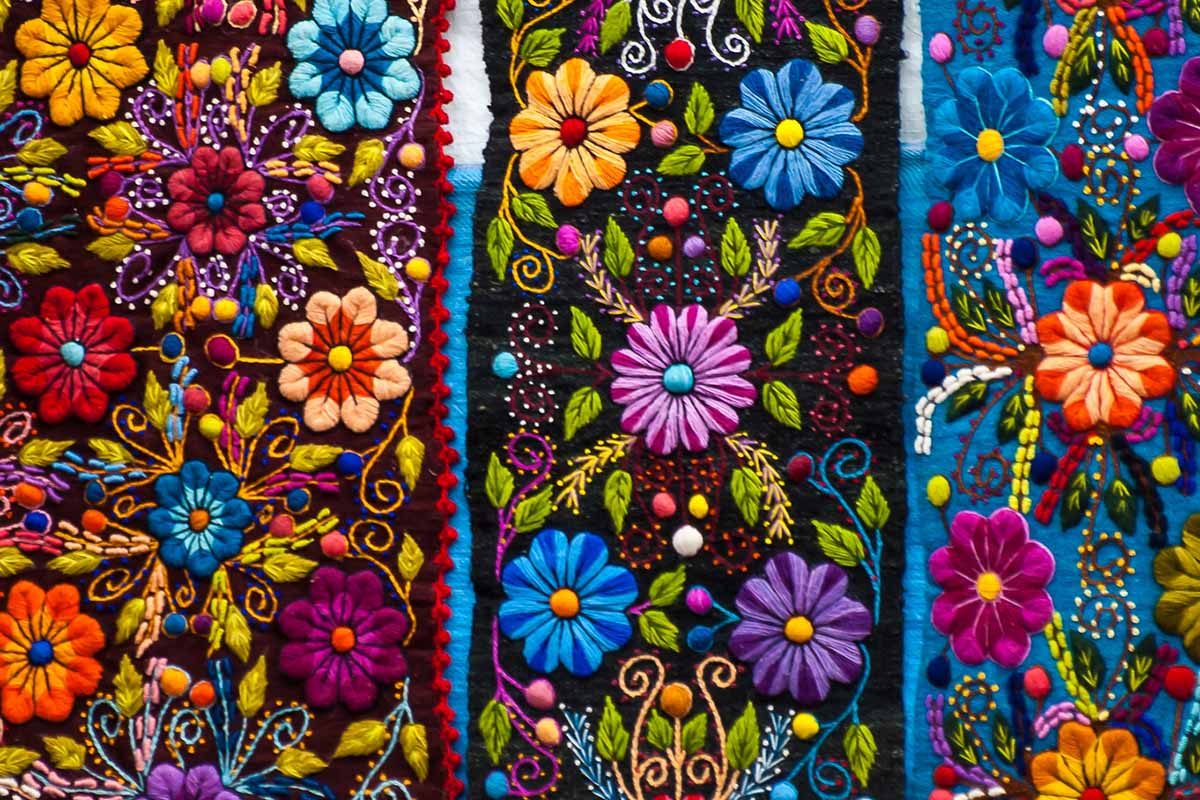 Three bands of brightly colored flower embroidery from Ayacucho.