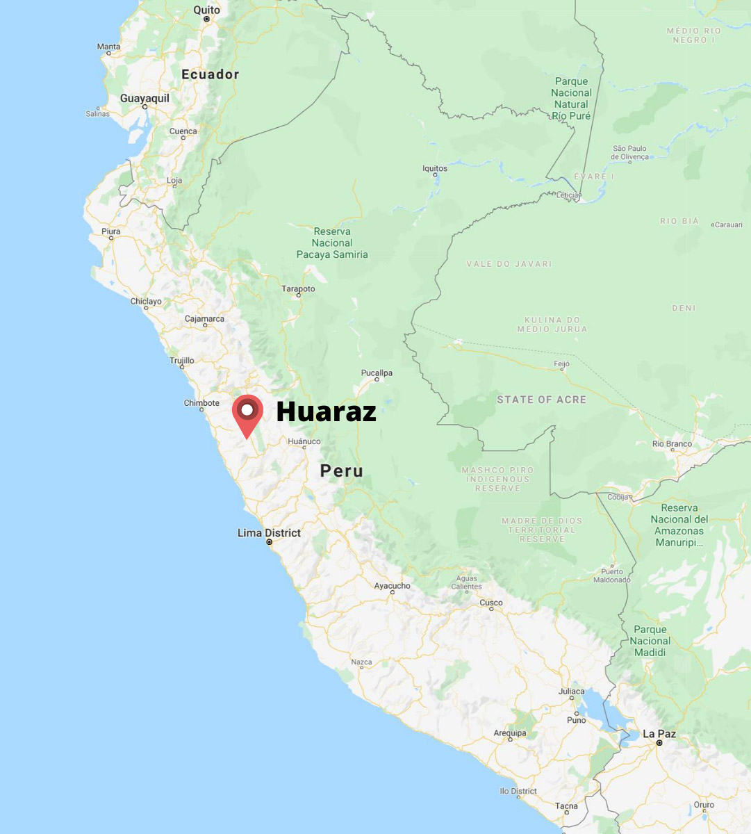 A map of Peru highlighting the city of Huaraz.