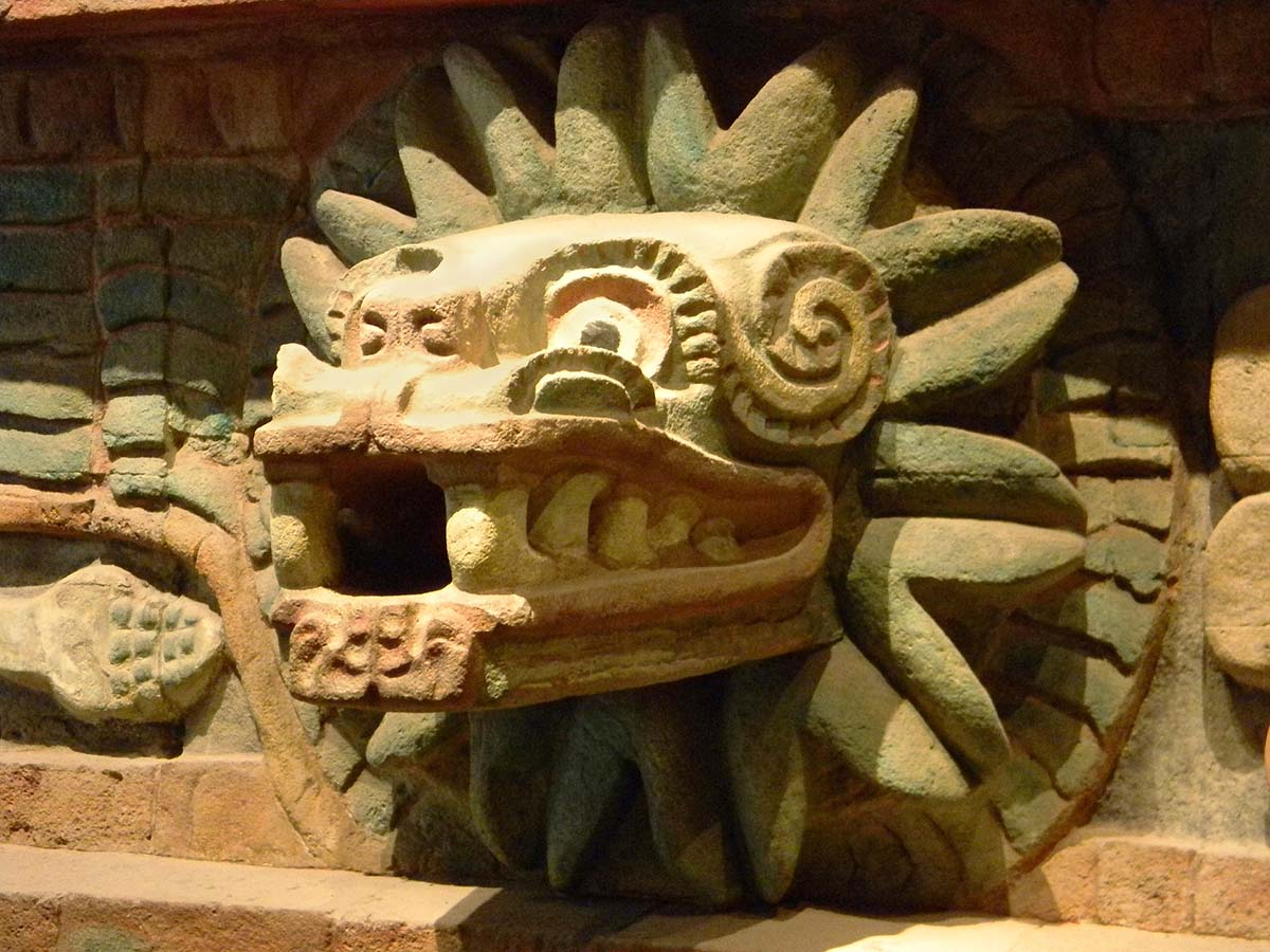 Statue of Quetzalcoatl, the feathered serpent god the Aztec believed gave cacao as a gift to humans.
