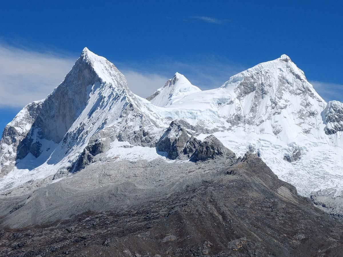 Snow-capped mountain peaks from the Cordillera Blanca mountain range of Peru near Laguna 69.