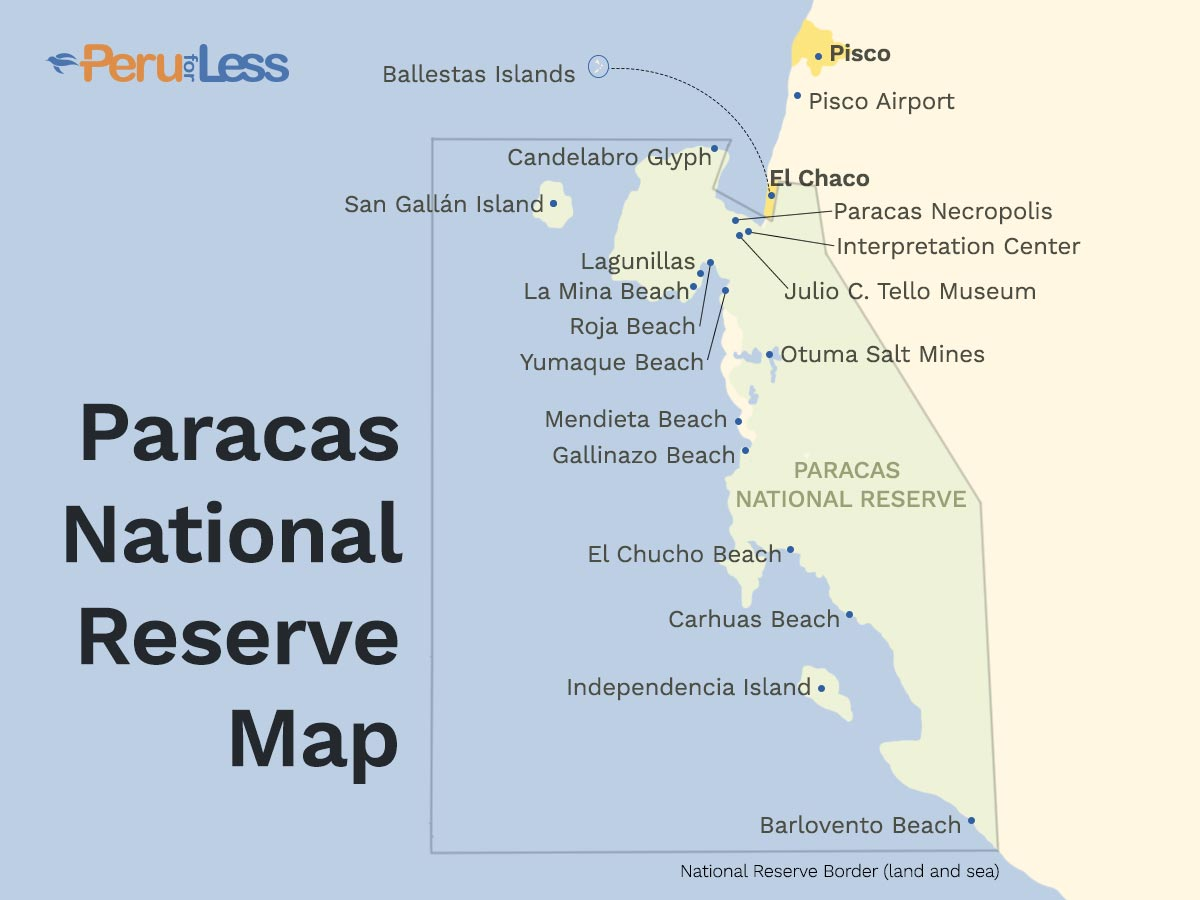 Illustrated map of the Paracas National Reserve the includes beaches, islands, and visitor attractions within the borders of the expansive coastal desert reserve in Peru.