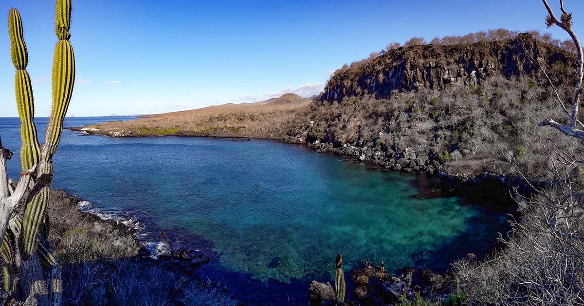 The turquoise bay and sea vistas along the trail to the top of Cerro Tijeretas on San Cristobal Island Galapagos.