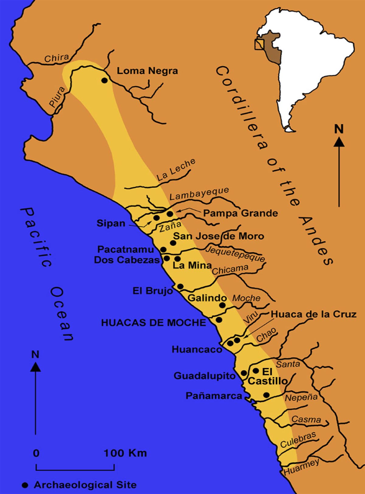 A map of the Moche people's location in Peru along the Pacific coast.