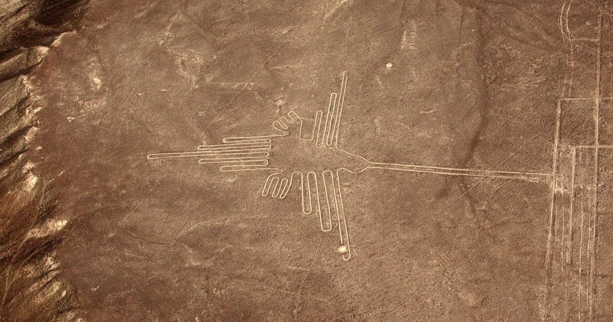 Hummingbird Nazca Line etched into the arid landscape of the Peruvian coastal desert.