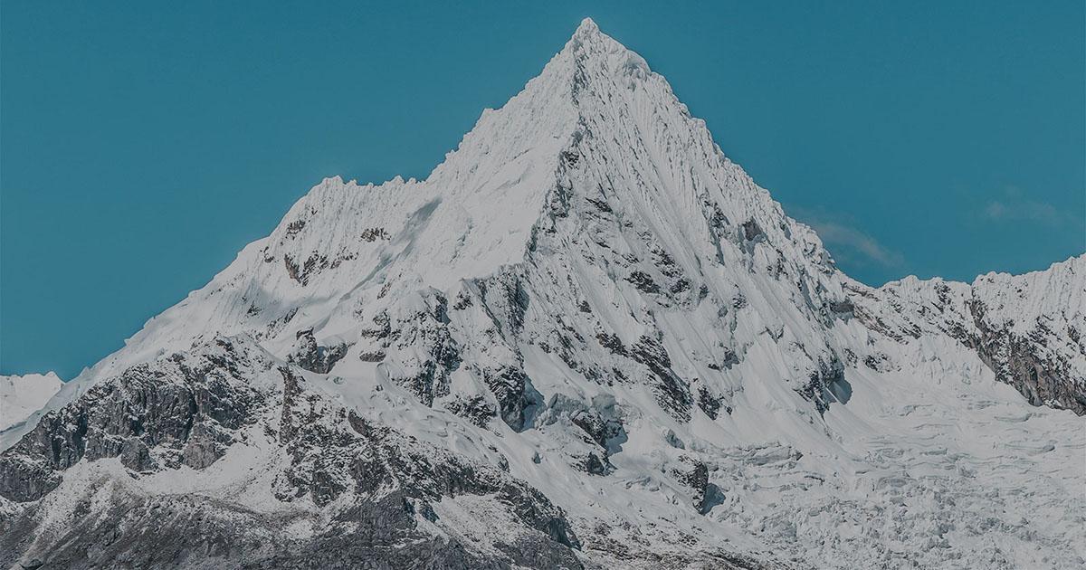 Snow-capped mountain in Peru's Cordillera Blanca