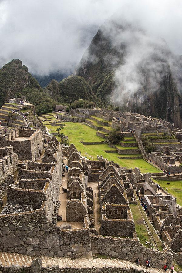 Fog rolling in over Machu Picchu