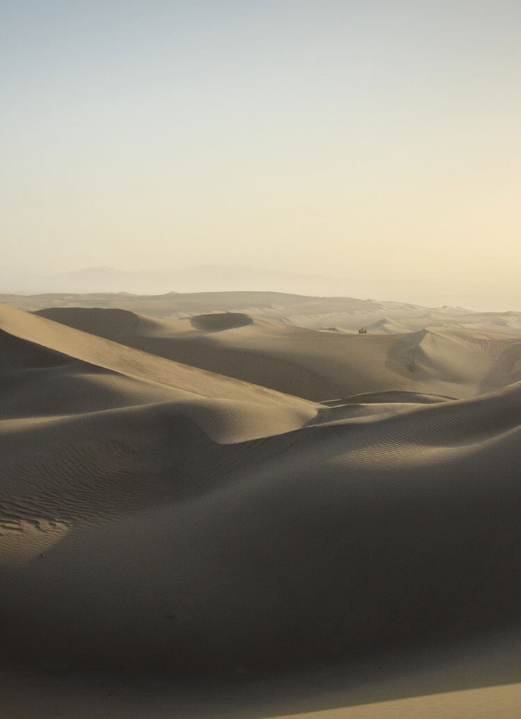 Sand dunes in the Ica Desert in southern Peru