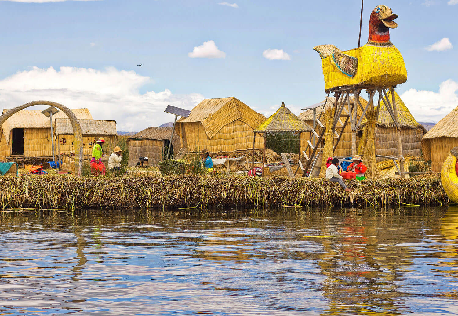 The floating Uros Islands located in Lake Titicaca