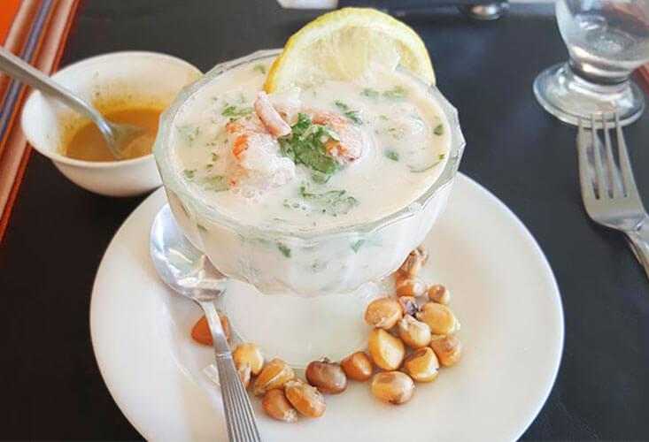 a bowl of leche de tigre, a Peruvian culinary specialty