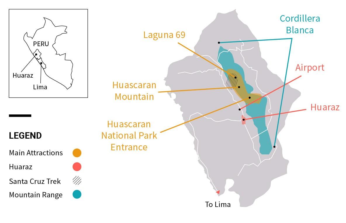 Map of Huaraz and the nearby Huascaran National Park