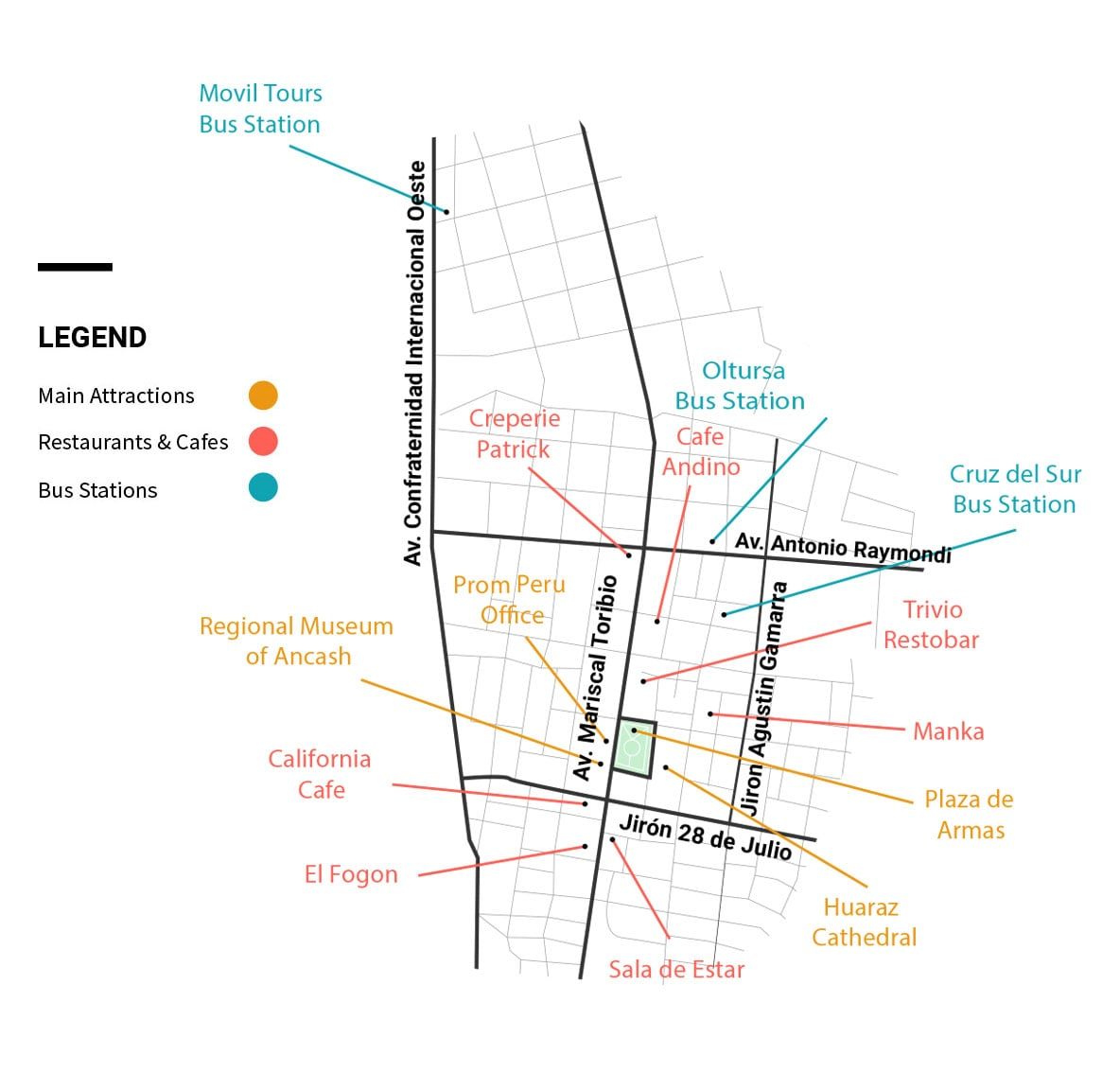 City map of Huaraz