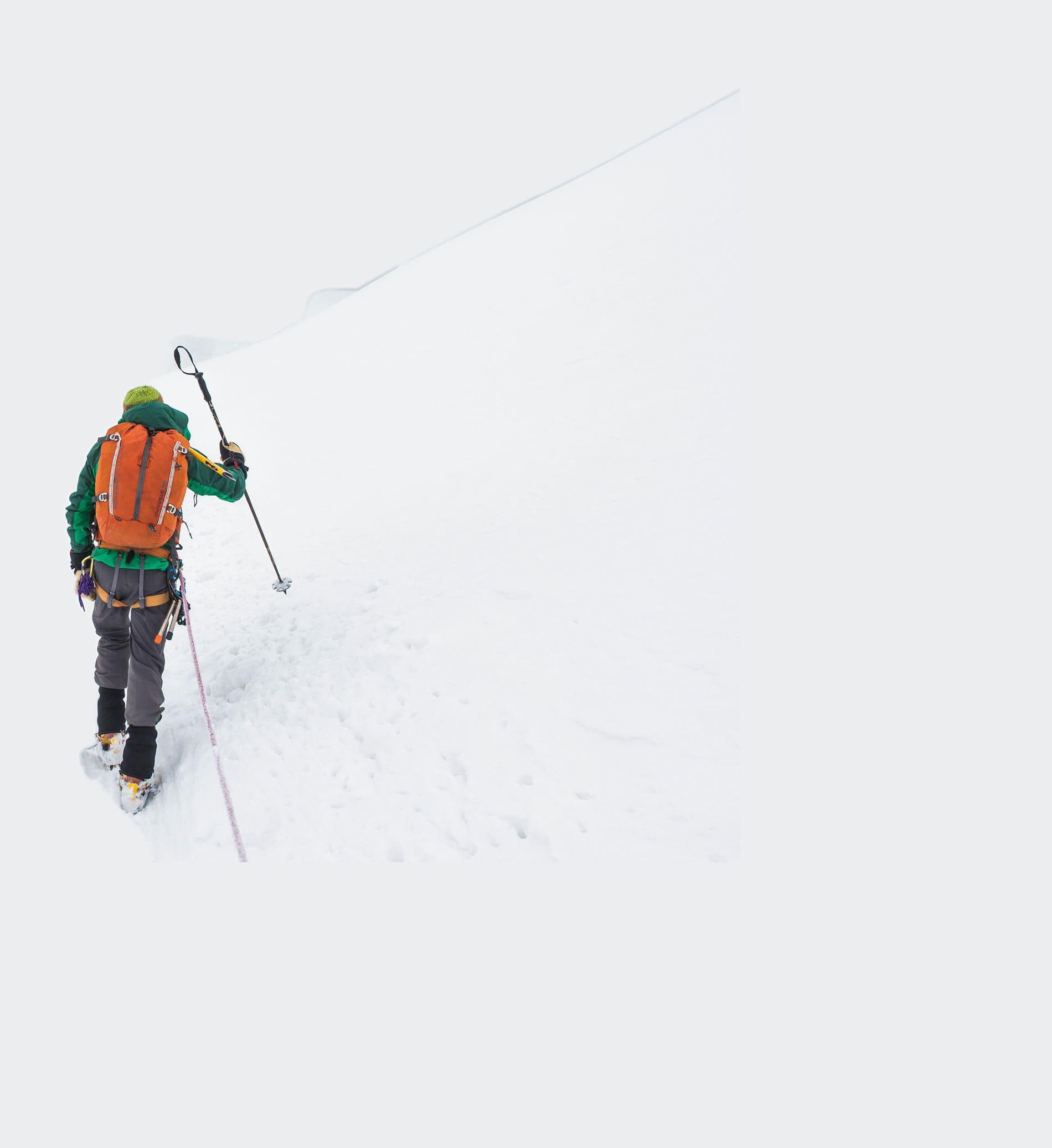 Hiking through the snow in the Cordillera Blanca