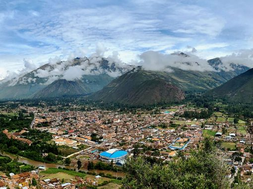 Panoramic view of the town of Urubamba in the Sacred Valley