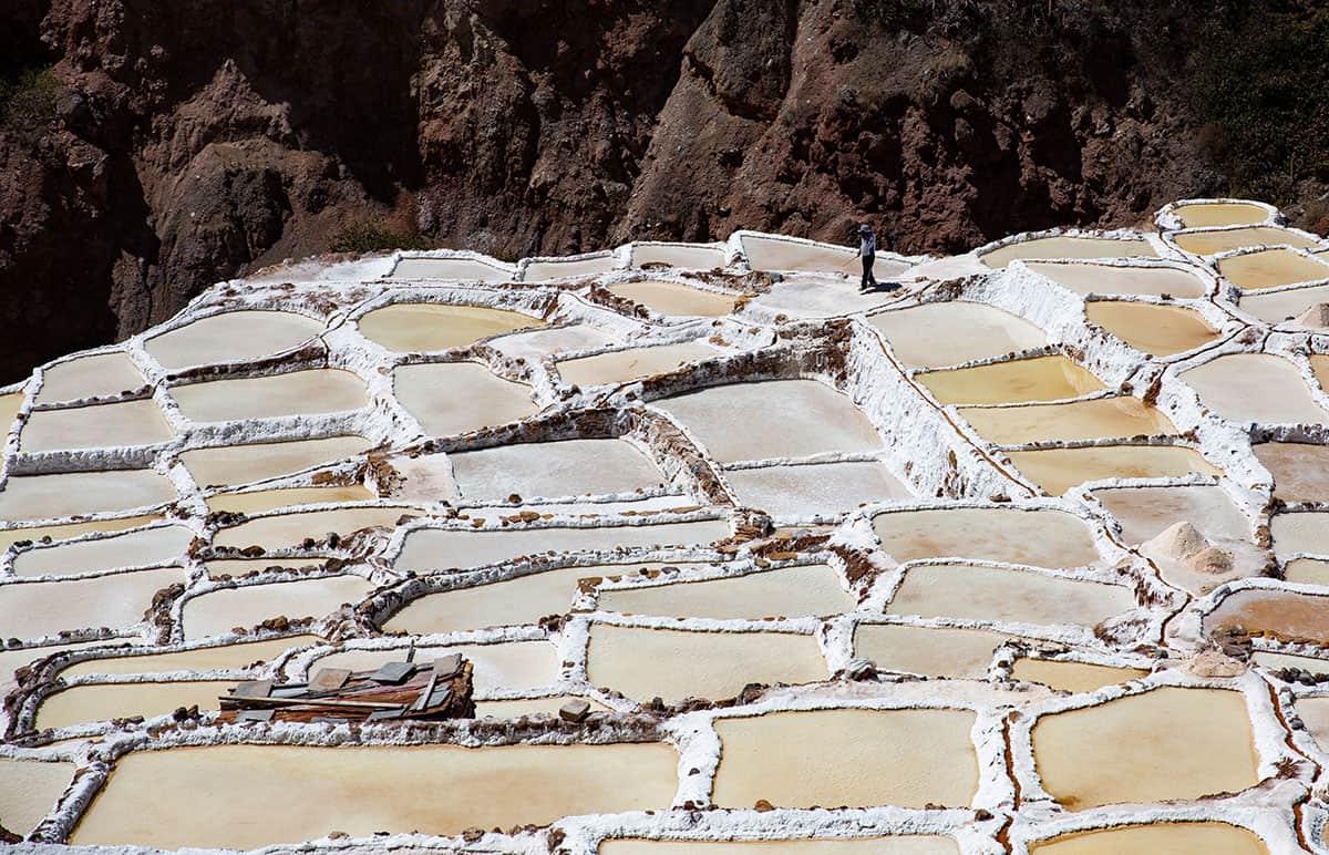 The Maras salt ponds are pools of multi-hued salt water on the mountainsides of Peru.