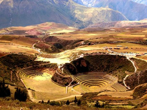 The Moray terraces seen from above with the Andes mountains behind