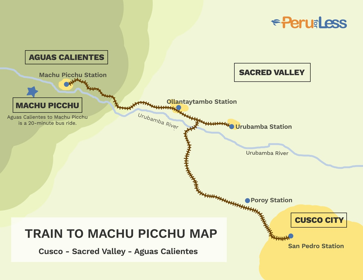 Map of the train ride from Cusco to Machu Picchu.