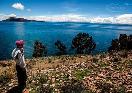 Local man looking out over the expanse of Lake Titicaca