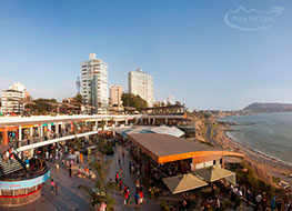 Seaside Larcomar shopping center along the Lima cliffs with the ocean to the right