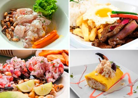 Collage of four different Peruvian dishes