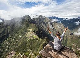 Woman in Machu Picchu mountain
