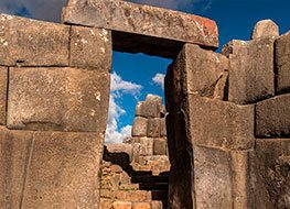 A stone doorway leading to a staircase at Machu Picchu, the lost city of the Incas.