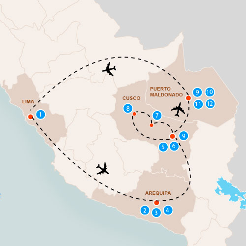 Cross the Andes to the Amazon Peru tour itinerary map.