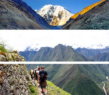 Collage of trekkers hiking and camping surrounded by Andean peaks.