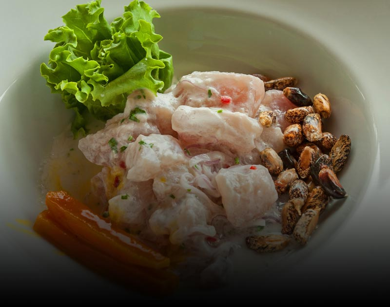 A bowl of ceviche, a traditional Peruvian dish featuring raw fish marinated in lime juice.