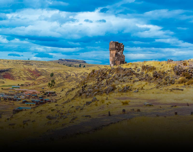 Sillustani, a pre-Incan funerary tower located in Puno on Lake Umayo, near the larger Lake Titicaca.
