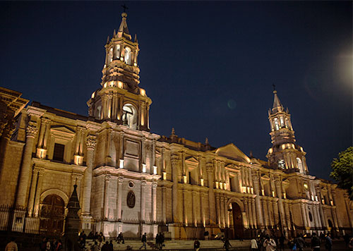 Basilica Cathedral of Arequipa, which has been constructed and reconstructed for 500 years due to earthquakes, illuminated