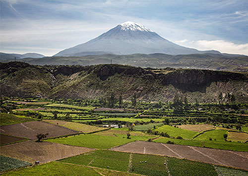 The countryside of Arequipa, or Peru's famed White City, with the soaring, snow-capped Volcano Misti crowning the land