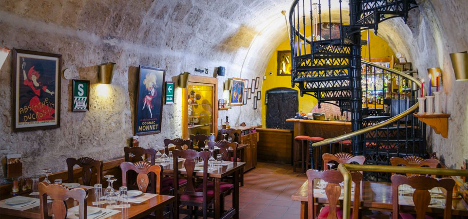 Interior of Zig Zag Restaurant, a popular Arequipa restaurant known for its creative Peruvian menu with European influence